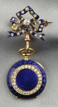 Antique 18kt Gold Enamel and Diamond Pendant Watch Tiffany  Co