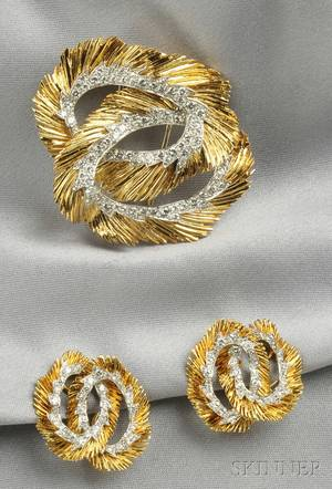 18kt Gold and Diamond Brooch and Earclips Cartier