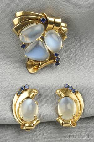 Retro 14kt Gold Moonstone and Sapphire Brooch and Earclips Raymond Yard