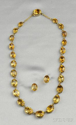 Antique 14kt Gold and Citrine Necklace and Earstuds