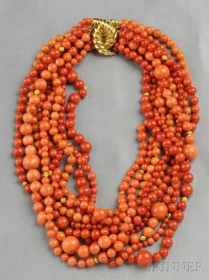Multistrand 18kt Gold and Coral Bead Necklace Verdura