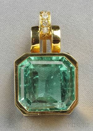 14kt Gold Emerald and Diamond Pendant