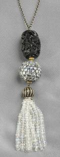Moonstone Glass and Diamond Tassel Necklace
