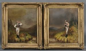 American School 19th Century Two Portraits of Fishermen on the Banks of a Mountain Stream