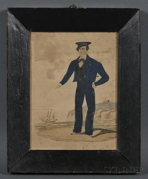 AngloAmerican School 19th Century Small Folk Portrait of a Sailor with Distant Ship