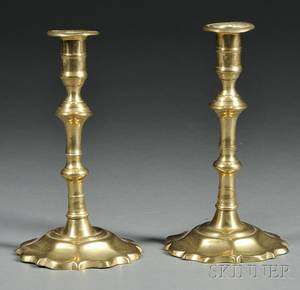 Pair of Brass Petalbase Candlesticks