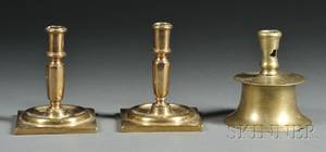 Three Early Brass Candlesticks