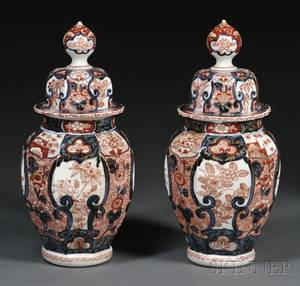 Pair of Imaridecorated Porcelain Covered Jars