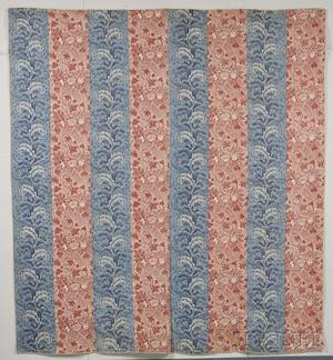Red and Blue Copperplate Printed Pieced Cotton Quilt