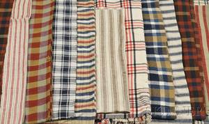 Collection of Fourteen Handwoven Homespun Wool and Linen Textiles