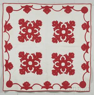 Red and White Cotton Appliqued Quilt