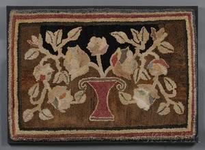 Pictorial Hooked Rug Depicting a Vaseform Basket of Flowers