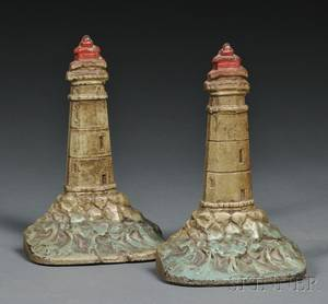 Pair of Cast Iron Lighthouse Bookends