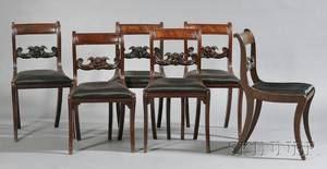 Set of Six Mahogany Carved Grecian Side Chairs