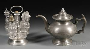 Pewter and Glass Cruet Set and a Pewter Teapot