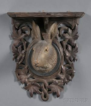 Black Forest Carved and Painted Rabbit Shelf Plaque