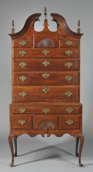 Queen Anne Walnut and Maple Fancarved Scrolltop High Chest of Drawers
