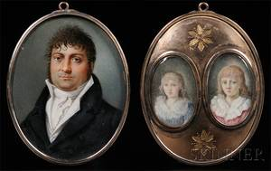 FrenchContinental School Early 19th Century Portrait Miniatures of a Gentleman and Two Boys