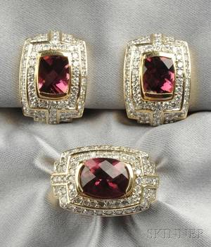 14kt Gold Pink Tourmaline and Diamond Ring and Earclips Guild