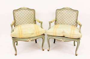 Pair of French Chairs with Caned Backs and Seats