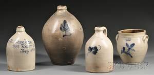 Four Troy New York Pottery Stoneware Items