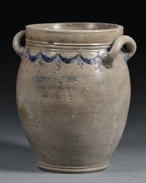 COMMERAWS STONEWARE Crock with Incised Cobalt Decoration