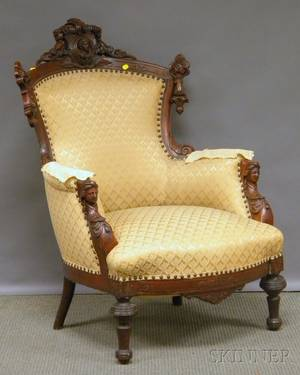 Victorian Renaissance Revival Upholstered Carved Walnut Parlor Armchair