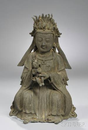 Asian Bronze Seated Female Figure with Child