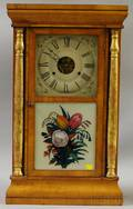 Parcelgilt Splitcolumn and Blonde Mahogany Veneer Ogee Clock