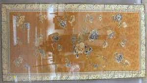 Large Framed Chinese Embroidered Silk Floral Pattern Panel