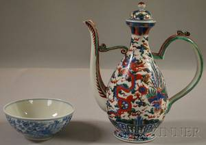 Chinese Blue and White Decorated Porcelain Bowl and a Wucai Polychromedecorated Porcelain Ewer