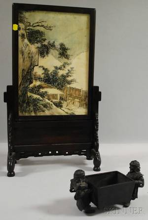 Chinese Painted Landscapedecorated Marble Plaque in a Carved Hardwood Stand and a Bronze Figural Censer