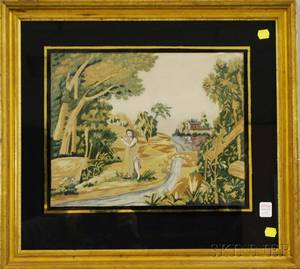 Giltwoodframed Silk Needlework Picture of St John the Baptist in a Landscape