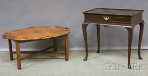 Chippendalestyle Mahogany Butlers Tray Table and a Quigley Queen Annestyle Walnut Traytop Tea Table