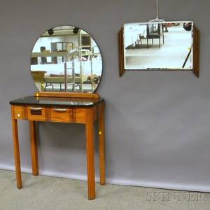 Art Deco Black Lacquertop Wood and Mirrored Salon Vanity and an Art Deco Wall Mirror