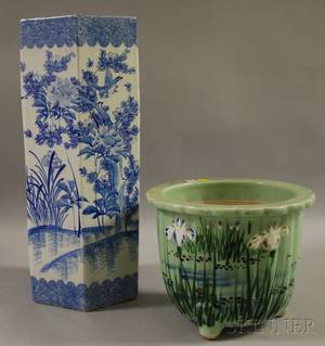 Imari Porcelain Umbrella Stand and an Asian Irisdecorated Celadon Glazed Porcelain Jardiniere