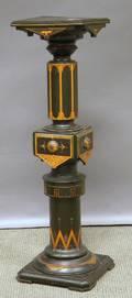 Victorian Aesthetic Polychromedecorated Ebonized Carved Wood Pedestal