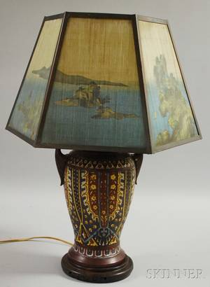 Asian Champleve and Bronze VaseTable Lamp with Japanese Scenicdecorated Panel Shade