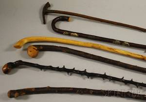 Six Assorted Root and Wood Walking Sticks and Canes