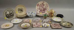 Sixteen Transferware Plates Five Delft Tiles a Mottahedeh Delft Bulb Pot and a Dresden Porcelain Demitasse Pot