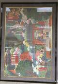 Large Framed Chinese Gouache on Paper Depicting Immortals in Landscape Surrounding a Noble Holding Court