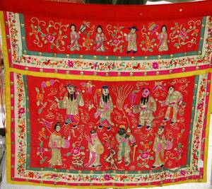 Chinese Silk Embroidered Textile with Metal Buttons