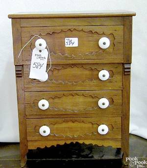 Victorian cherry and walnut miniature chest of drawers ca 1860
