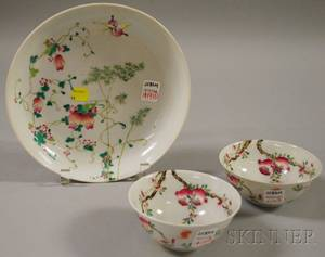 Pair of Chinese Doucai Porcelain Bowls and a Famille Rose Dish