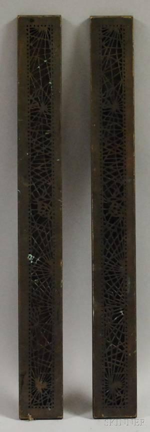 Pair of Tiffany Studios Bronze Pine Needle Pattern Desk Blotter Ends