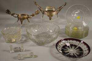 Group of Mostly Colorless Glass and Silverplate Table Items