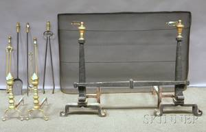 Ten Brass and Iron Fireplace and Hearth Items and a Framed Needlepoint View of a Sailing Ship