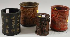 Four Asian Carved Wood and Bamboo Brush Pots