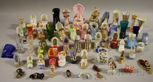Collection of Miniature Ceramic and Glass Shoes and Boots