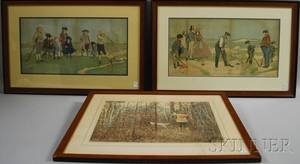 Pair of Framed John Hassall Lithograph Golfing Prints and a Framed AB Frost Handcolored Print October Woodcock Shooting
